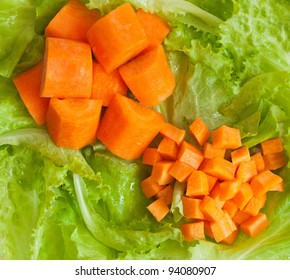 Fresh vegetables: carrot and lettuce; healthy eating and dietary concept