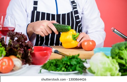 Fresh vegetables. Chef man in hat. Secret taste recipe. Bearded man cook in kitchen, culinary. Vegetarian. Mature chef with beard. Dieting and organic food, vitamin. Healthy food cooking.
