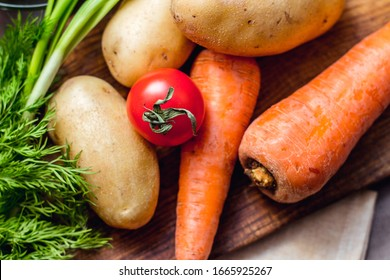 fresh vegetables close-up on a decorative background