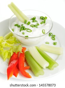 Fresh Vegetables with Creamy Dip on a white background