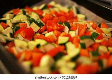 Fresh vegetables cut for roasting