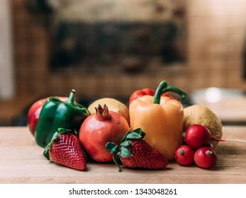 fresh vegetables and fruit in kitchen