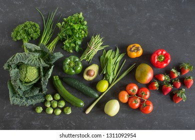 Fresh vegetables and fruit selection for a healthy nutrition concept