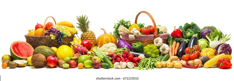 Fresh vegetables and fruits background - Shutterstock ID 671215015