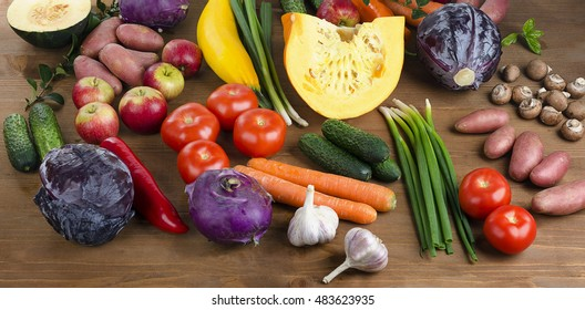 Fresh Vegetables and fruits background. Healthy food concept.