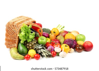 Fresh vegetables and fruits with basket  on white background