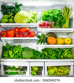 Fresh vegetables and fruits in fridge.