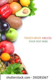 Fresh vegetables fruits isolated white background