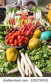 Fresh vegetables and fruits on the Asian street market