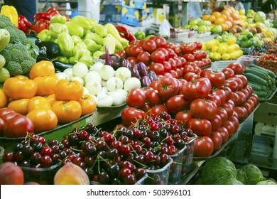 Fresh vegetables and fruits on farmer agricultural market
