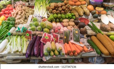 Fresh Vegetables and Fruits at Street Market in Hong Kong