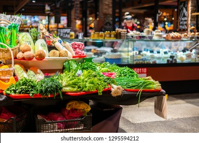 fresh vegetables and fruits in vegan food store