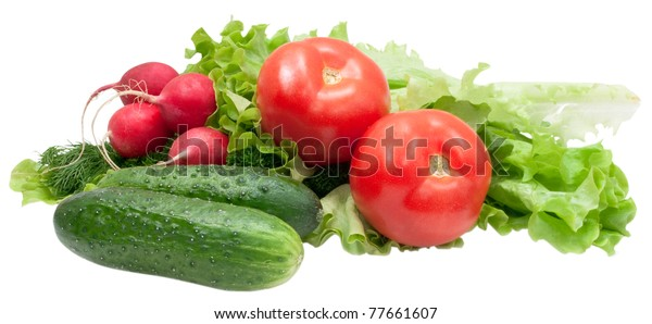fresh vegetables and greenage isolated on white background