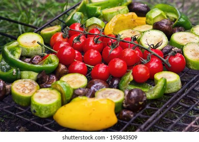 Fresh vegetables for grilling, picnic in summer outdoors