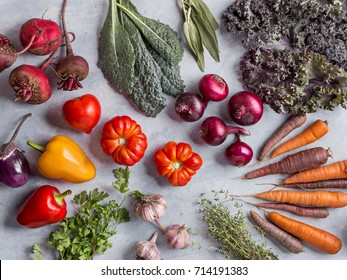 Fresh vegetables and herbs background. Top view.