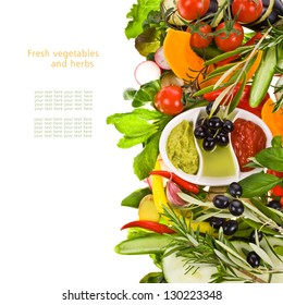 fresh vegetables and herbs and cooking sauces in white bowls isolated on a white background with sample text