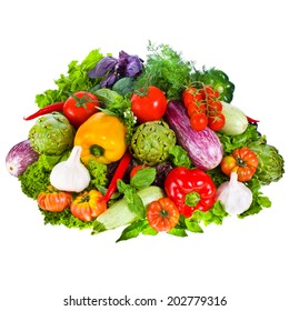 fresh vegetables and herbs isolated on a white background