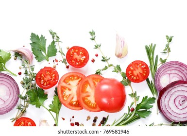fresh vegetables and herbs on a white  - food background