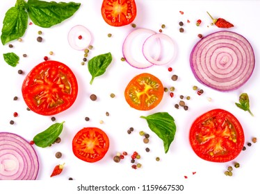 fresh vegetables, herbs and spices isolated on white background.