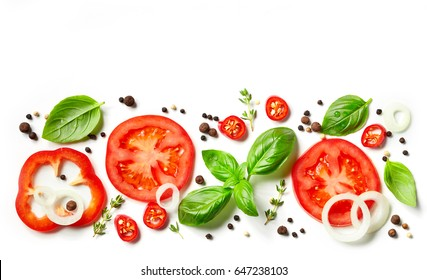 fresh vegetables, herbs and spices isolated on white background