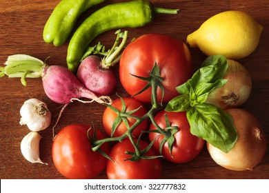 Fresh vegetables as an ingredient of a salad or cook