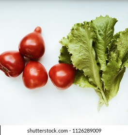 fresh vegetables isolated on white background, top view. flat lay