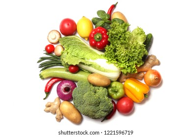 fresh vegetables isolated on white top view. Dishes from vegetables, proper nutrition, veggiery, cooking.
