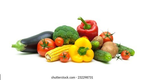 fresh vegetables isolated on white background close up. horizontal photo.