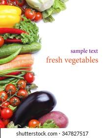 fresh vegetables isolated white background