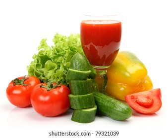 Fresh vegetables and juice