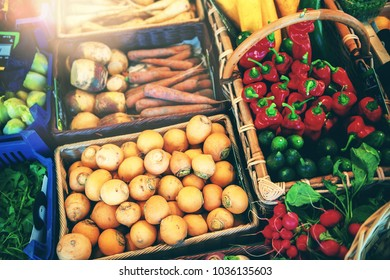 Fresh vegetables at local farmers market. Food background