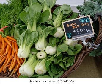 fresh vegetables at a local farmer's market in Astoria, Oregon