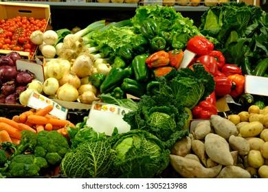 Fresh vegetables in Loule Market Algarve.