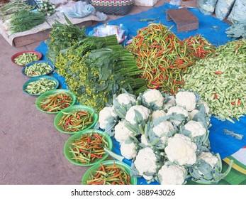 Fresh Vegetables maket in Khammouane  , Laos maket