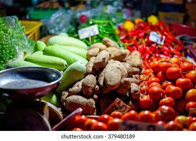 Fresh vegetables at night market , Chiang mai , Thailand