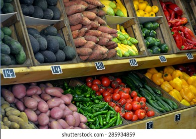 Fresh vegetables on display in farmers market. Food background and texture