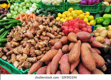 Fresh vegetables on display in market stall in Mahane Yehuda market, Israel.