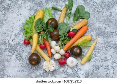 fresh vegetables on grey background