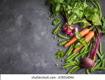 Fresh vegetables on rustic concrete background. Carrot, beet, radish, green pea, herbs. Harvest/gardening concept. Healthy food. Vegetarianism. Clean eating. Space for text. Making salad ingredients