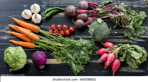 Fresh vegetables on a rustic table
