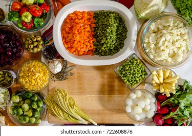 fresh vegetables on a table, ready to prepare fiambre, a traditional festival dish for All Saints Day