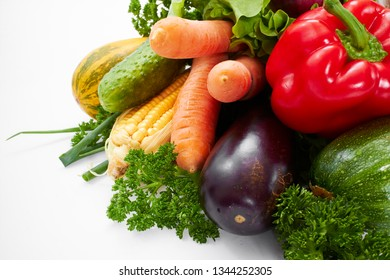 fresh vegetables on the white