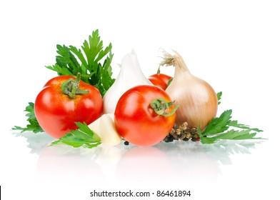 Fresh vegetables on white background - tomato, parsley, garlic, pepper, onion