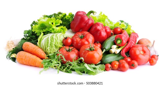 Fresh vegetables on white background.Concept of healthy eating.
