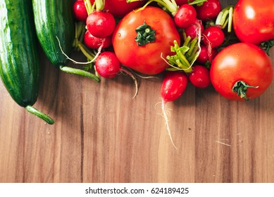 Fresh vegetables on the wooden table