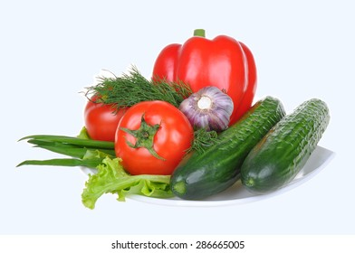Fresh vegetables red pepper, cucumber, red tomato, isolated on white background
