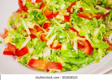 fresh vegetables salad with cabbage