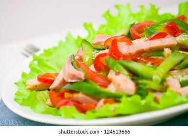 fresh vegetables salad with ham