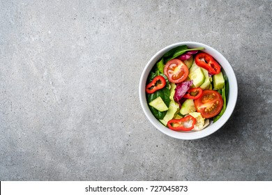 Fresh vegetables salad. Top view