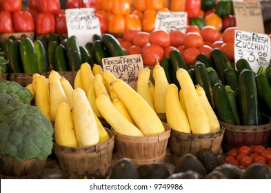 fresh vegetables for sale in a basket on a open air market stall
